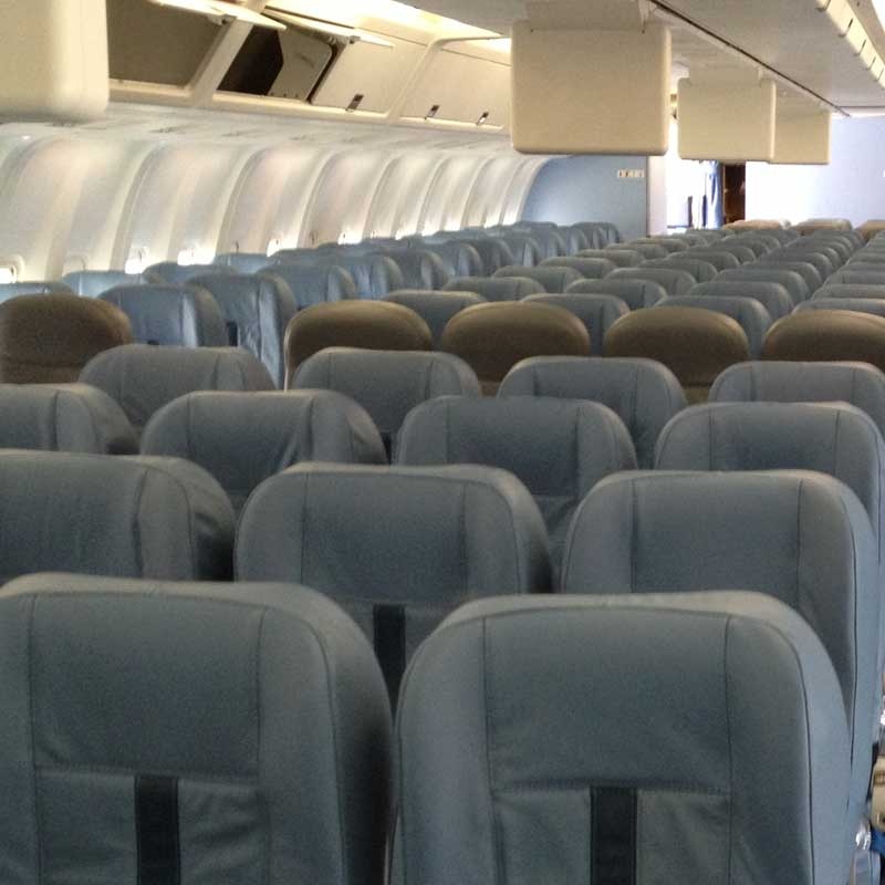 Completed aircraft seat covers installed in situ